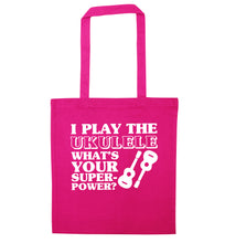 I play the ukulele what's your superpower? pink tote bag