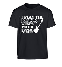 I play the bass what's your superpower? Children's black Tshirt 12-14 Years