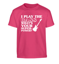 I play the bass what's your superpower? Children's pink Tshirt 12-14 Years
