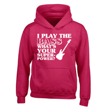 I play the bass what's your superpower? children's pink hoodie 12-14 Years