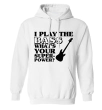 I play the bass what's your superpower? adults unisex white hoodie 2XL