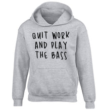 Quit work and play the bass children's grey hoodie 12-14 Years