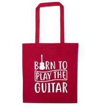 Born to play the guitar red tote bag