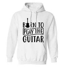 Born to play the guitar adults unisex white hoodie 2XL