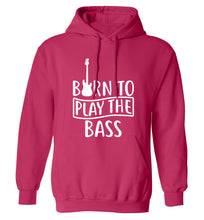Born to play the bass adults unisex pink hoodie 2XL