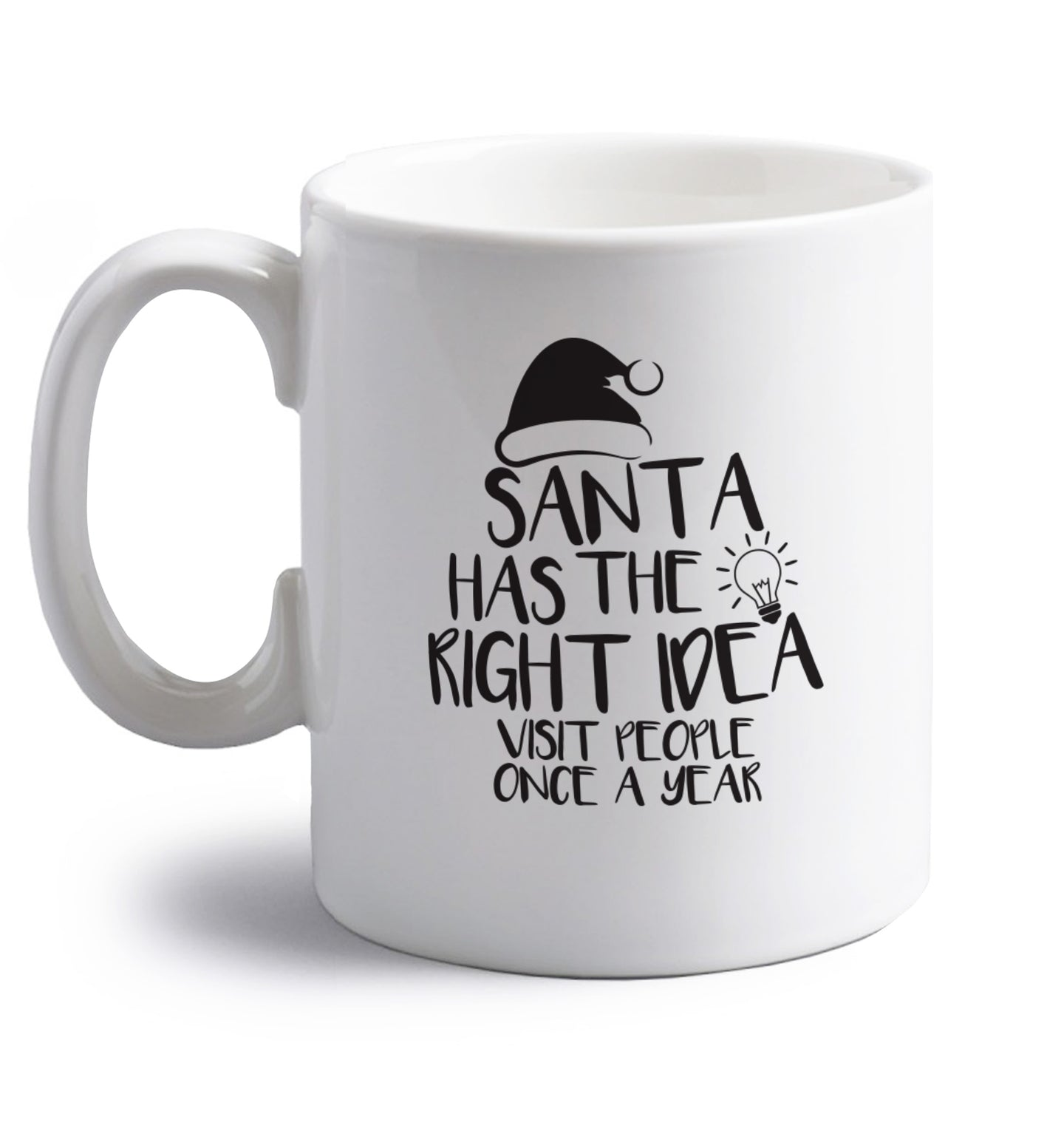 Santa has the right idea visit people once a year right handed white ceramic mug