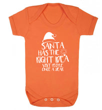 Santa has the right idea visit people once a year Baby Vest orange 18-24 months