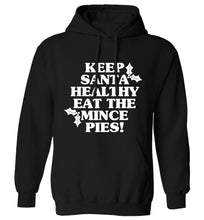 Keep santa healthy eat the mince pies adults unisex black hoodie 2XL