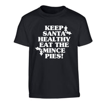 Keep santa healthy eat the mince pies Children's black Tshirt 12-14 Years