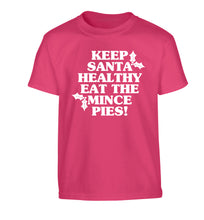 Keep santa healthy eat the mince pies Children's pink Tshirt 12-14 Years