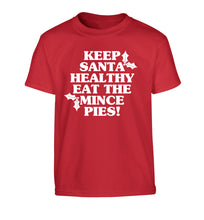 Keep santa healthy eat the mince pies Children's red Tshirt 12-14 Years