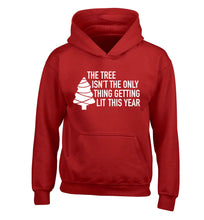 The tree isn't the only thing getting lit this year children's red hoodie 12-14 Years