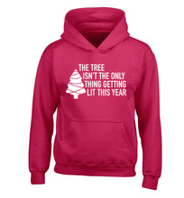 The tree isn't the only thing getting lit this year children's pink hoodie 12-14 Years