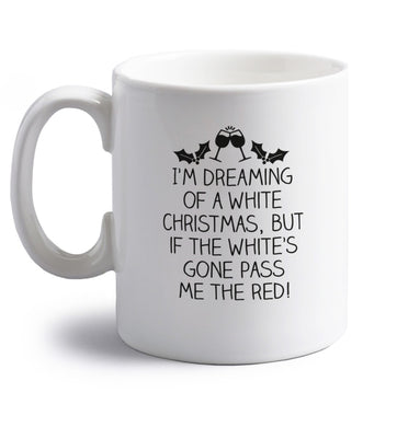 I'm dreaming of a white christmas, but if the white's gone pass me the red! right handed white ceramic mug