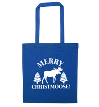 Merry Christmoose blue tote bag