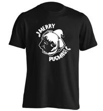 Merry Pugmas adults unisex black Tshirt 2XL