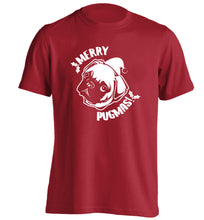 Merry Pugmas adults unisex red Tshirt 2XL