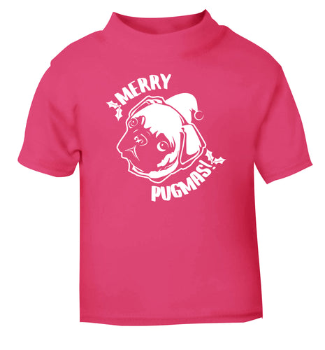 Merry Pugmas pink Baby Toddler Tshirt 2 Years