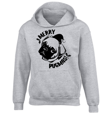 Merry Pugmas children's grey hoodie 12-14 Years