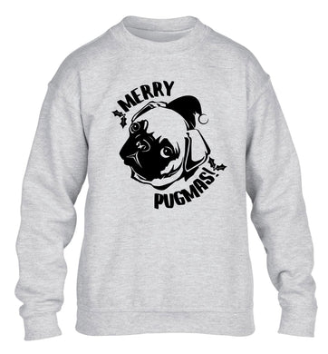 Merry Pugmas children's grey sweater 12-14 Years