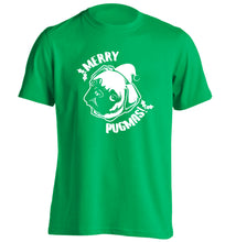 Merry Pugmas adults unisex green Tshirt 2XL