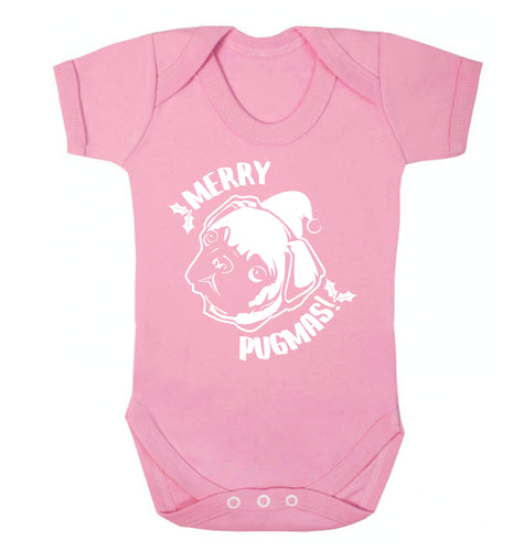 Merry Pugmas Baby Vest pale pink 18-24 months