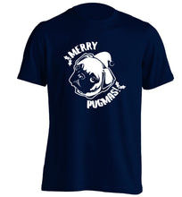Merry Pugmas adults unisex navy Tshirt 2XL