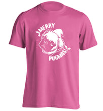 Merry Pugmas adults unisex pink Tshirt 2XL