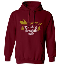 Dachshund through the snow adults unisex maroon hoodie 2XL