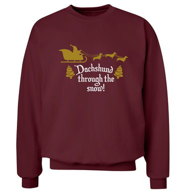 Dachshund through the snow Adult's unisex maroon Sweater 2XL
