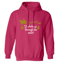 Dachshund through the snow adults unisex pink hoodie 2XL