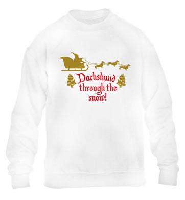 Dachshund through the snow children's white sweater 12-14 Years