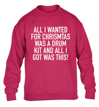 All I wanted for Christmas was a drum kit and all I got was this! children's pink sweater 12-14 Years