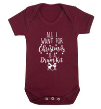 All I want for Christmas is a drum kit! Baby Vest maroon 18-24 months