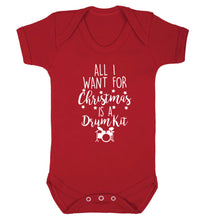 All I want for Christmas is a drum kit! Baby Vest red 18-24 months