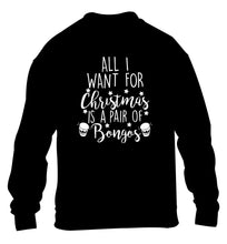 All I want for Christmas is a pair of bongos! children's black sweater 12-14 Years