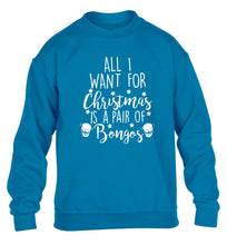 All I want for Christmas is a pair of bongos! children's blue sweater 12-14 Years