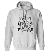 All I want for Christmas is a pair of bongos! adults unisex grey hoodie 2XL
