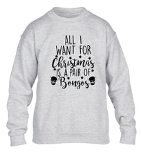 All I want for Christmas is a pair of bongos! children's grey sweater 12-14 Years