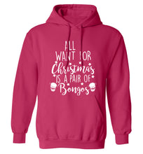 All I want for Christmas is a pair of bongos! adults unisex pink hoodie 2XL