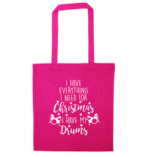 I have everything I need for Christmas I have my drums! pink tote bag