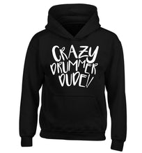 Crazy drummer dude children's black hoodie 12-14 Years