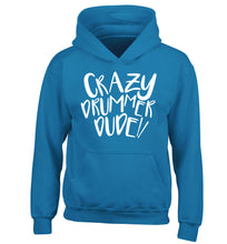 Crazy drummer dude children's blue hoodie 12-14 Years