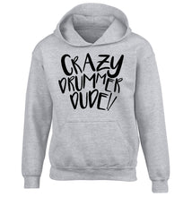 Crazy drummer dude children's grey hoodie 12-14 Years