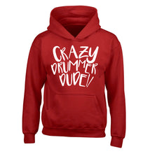 Crazy drummer dude children's red hoodie 12-14 Years