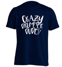 Crazy drummer dude adults unisex navy Tshirt 2XL
