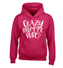 Crazy drummer dude children's pink hoodie 12-14 Years