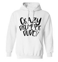 Crazy drummer dude adults unisex white hoodie 2XL
