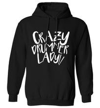 Crazy drummer lady adults unisex black hoodie 2XL