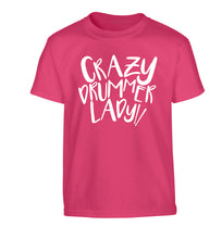 Crazy drummer lady Children's pink Tshirt 12-14 Years